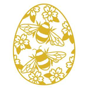 bumble bee and flowers easter egg
