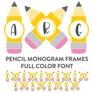 pencil monogram frames full color font