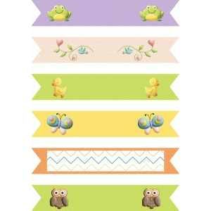 spring straw/cupcake flags