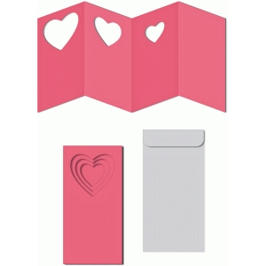 accordion hearts windows card w envelope