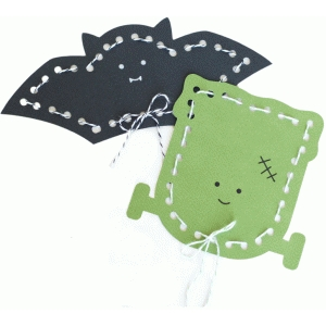 bat and frankenstein lace-up cards