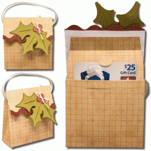 3d holly gift card bag