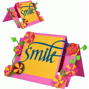 smile floral step card - calligraphy