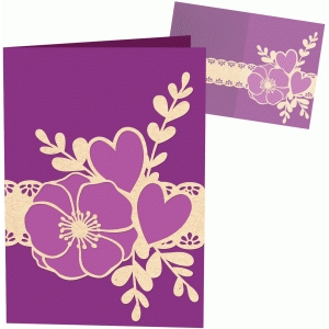 flower hearts lace card