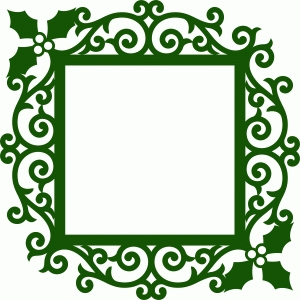 christmas holly frame damask