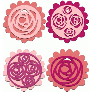 set of roses layered gift tags