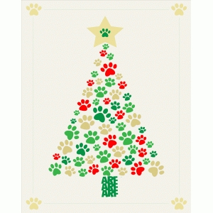 christmas tree with paws print and frame