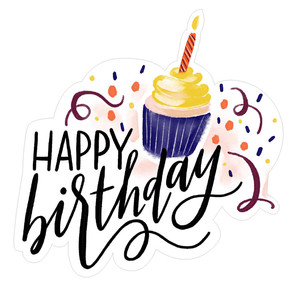 happy birthday handlettered