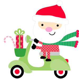 santa on scooter - here comes santa claus