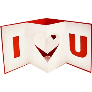 i heart u pop out card