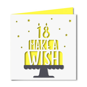 'make a wish' 18 birthday card