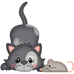gray cat with toy mouse