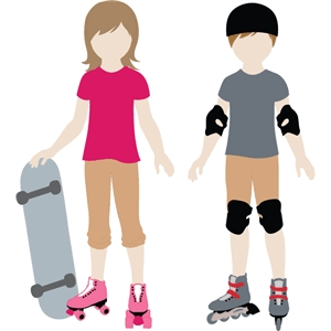 Lizzy & Jacob Paper Doll Skate Set