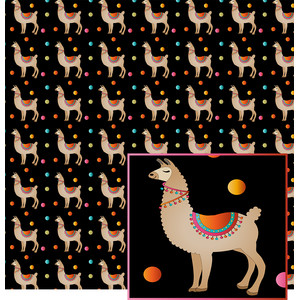 llama on black pattern