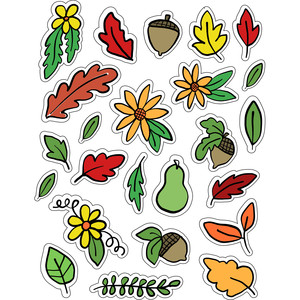 ml fall leaves and acorns stickers