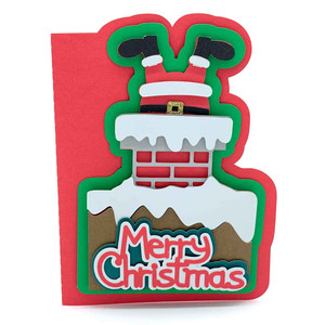 santa down the chimney card