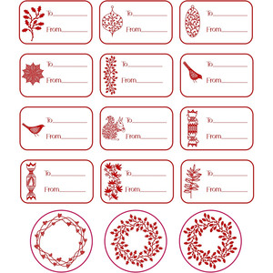 winter holiday gift label stickers