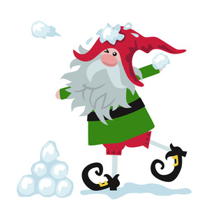 christmas elf in snowball fight