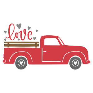 red truck love hearts