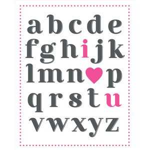 i heart you alphabet print