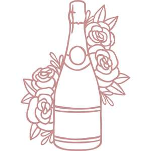 champagne bottle floral