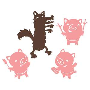 three little pigs shadow puppet set