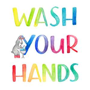 wash your hands childrens bathroom wall art