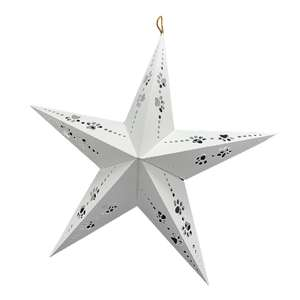 dog paw cutout design on 3d hanging star