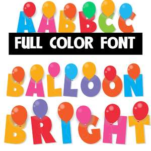 balloon bright color font