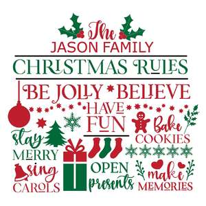 christmas rules custom family name sign