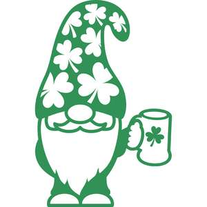 gnome with shamrock mug