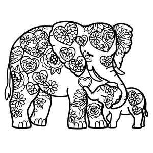 elephant mother and baby hearts mandala