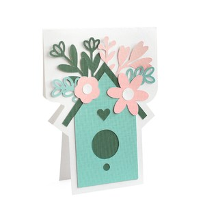 flower birdhouse card