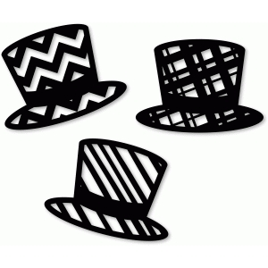 3 patterned top hats