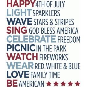 4th of july list - phrase