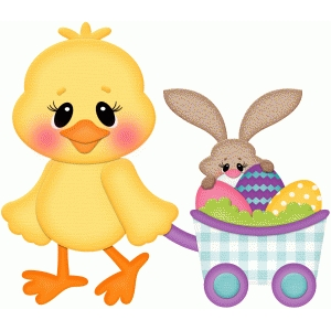 easter chick w wagon