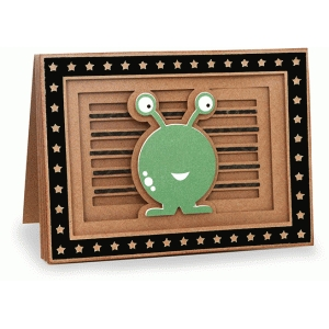 monster shadow box folded card