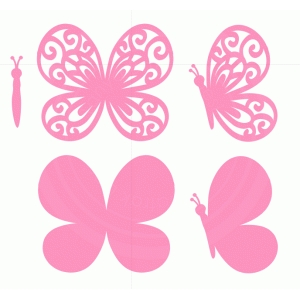 pink butterflies set