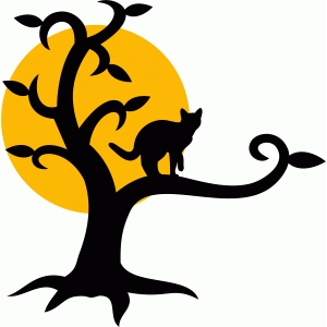 black cat tree halloween