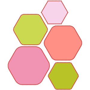 10 piece mini scalloped hexagon set