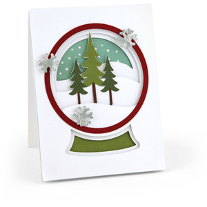 a2 pop dot card snow globe christmas trees