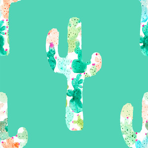 cute painted cactus pattern