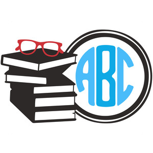 stack of books monogram frame
