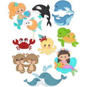 mermaids and ocean friends stickers