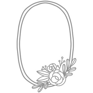 rose flower oval wreath