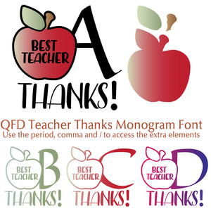 qfd teacher thanks monogram font