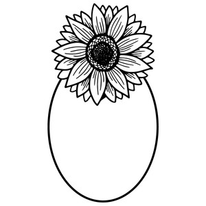 sunflower oval frame