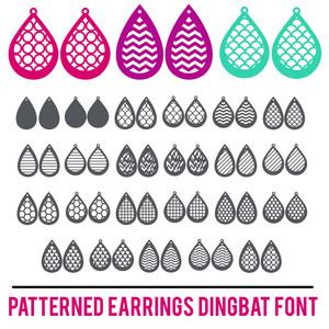 patterned earrings dingbat font
