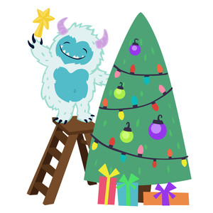 yeti putting star on christmas tree