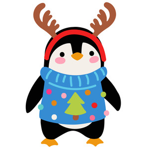 penguin with reindeer antlers